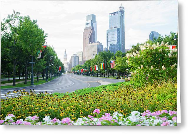 Flowers On The Parkway - Cityhall Greeting Card