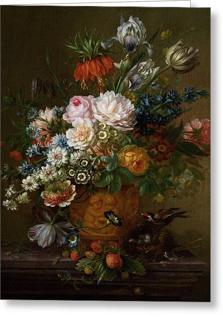 Flowers Still Life Greeting Card by Willem van Leen