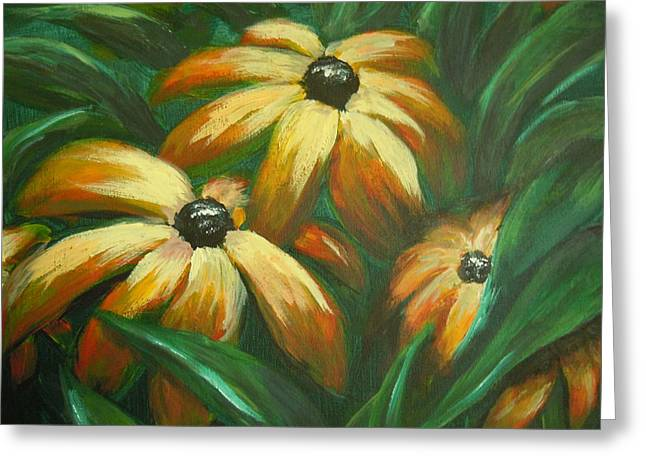 Greeting Card featuring the painting Flowers That Don't Sleep by Dan Whittemore