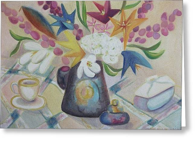 flowers Tin Vase and Tea Cup  Greeting Card by Suzanne  Marie Leclair