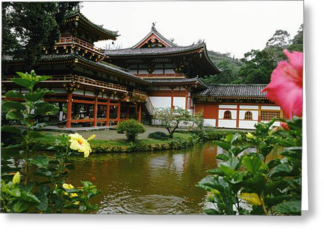 Flowers With Buddhist Temple Greeting Card by Panoramic Images