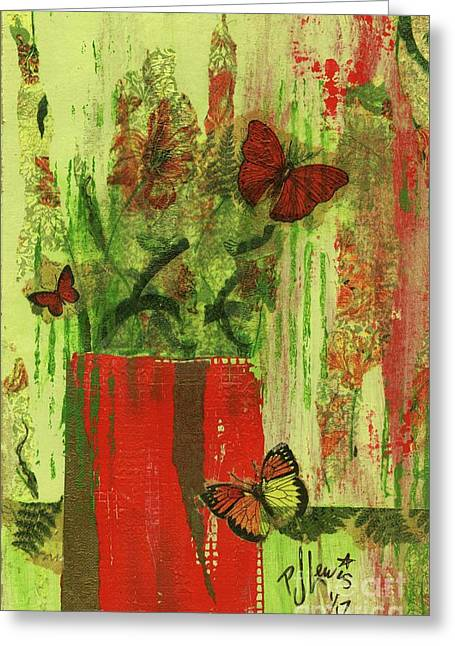 Flowers,butteriflies, And Vase Greeting Card