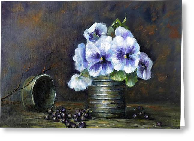 Flowers,pansies Still Life Greeting Card