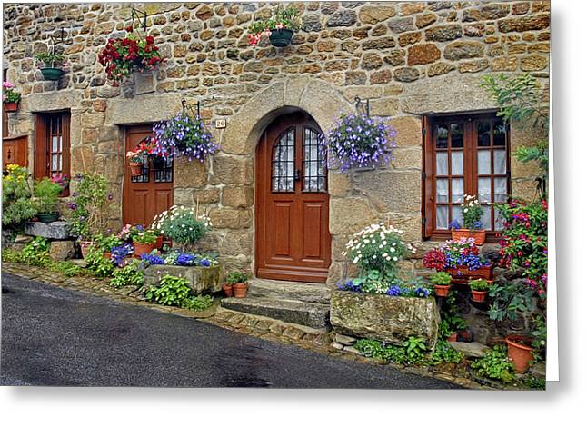 Flowery Doorways In Brittany Greeting Card