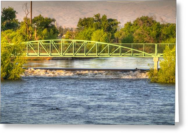 Flowing Kern River Walk And Bridge Greeting Card