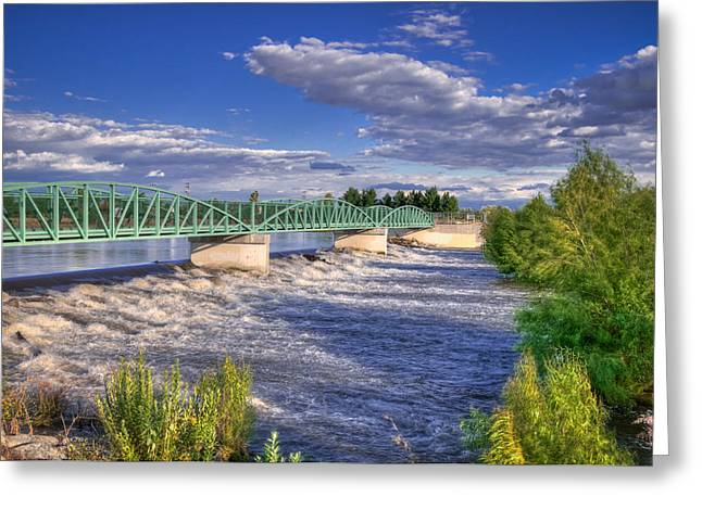 Flowing River And Bridge Greeting Card
