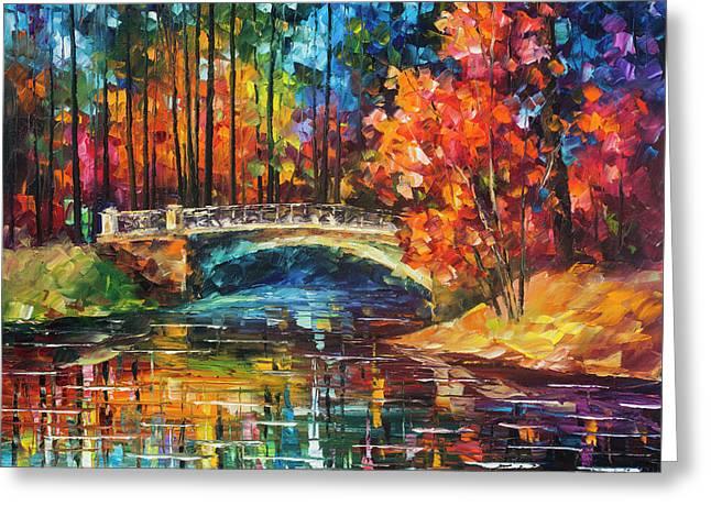 Flowing Under The Bridge  Greeting Card by Leonid Afremov