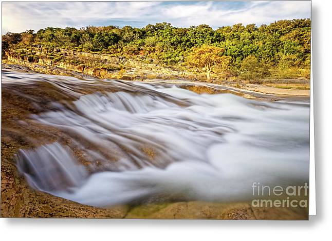 Flowing Waters Of The Pedernales River At Pedernales Falls State Park - Texas Hill Country Greeting Card by Silvio Ligutti