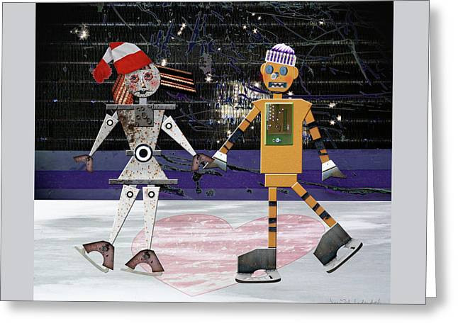 Floyd And Zoe's Skate Date Greeting Card by Joan Ladendorf