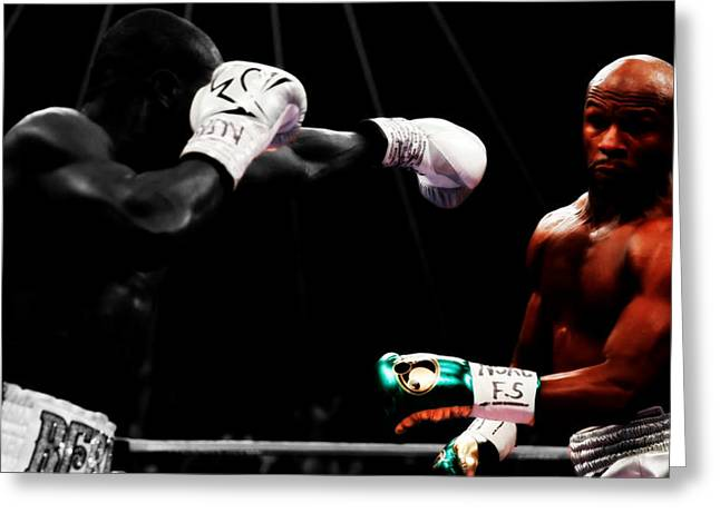 Floyd Mayweather Making Them Miss Greeting Card by Brian Reaves