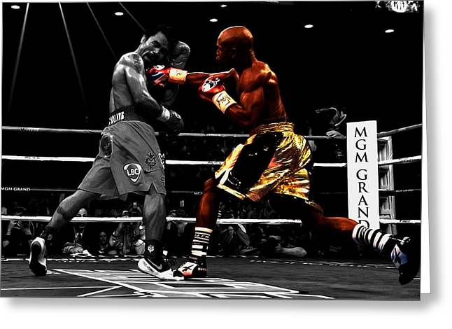 Floyd Mayweather Vs Manny Pacquiao Greeting Card by Brian Reaves