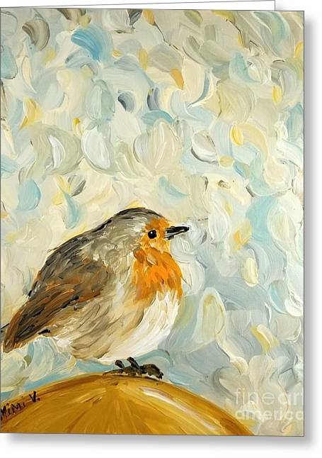Greeting Card featuring the painting Fluffy Bird In Snow by Maria Langgle