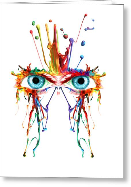 Fluid Abstract Eyes Greeting Card by Robert G Kernodle