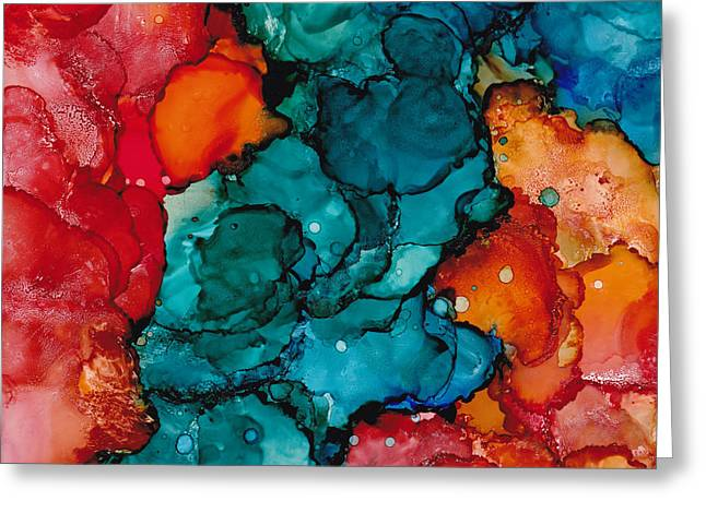 Fluid Depths Alcohol Ink Abstract Greeting Card