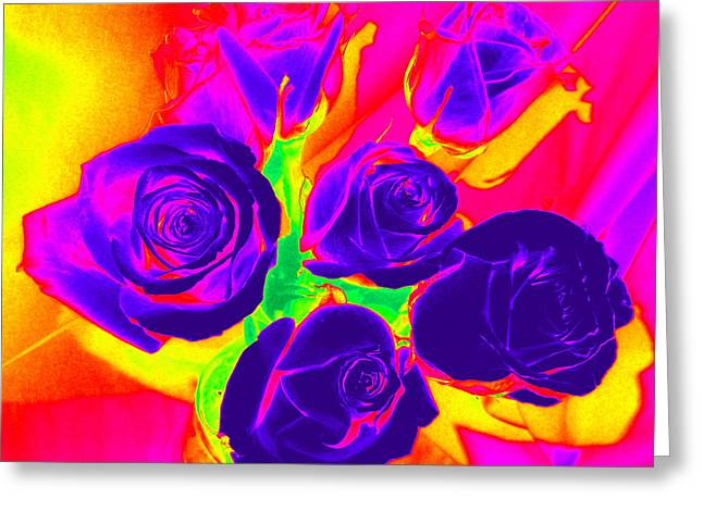 Fluorescent Roses Greeting Card