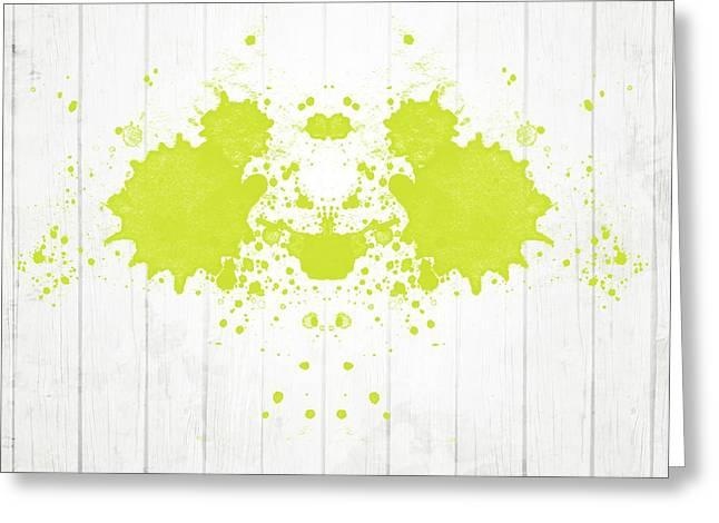 Fluorescent Yellow Rorschach Greeting Card
