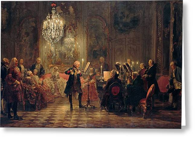 Flute Concert With Frederick The Great In Sanssouci Greeting Card by Adolph Menzel