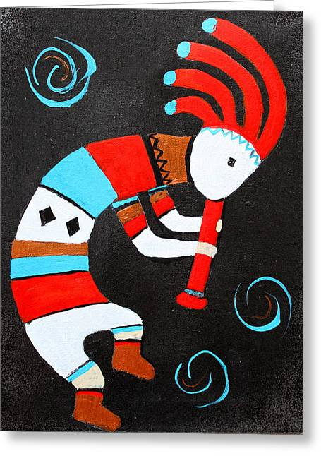 Flute Player Greeting Card by M Diane Bonaparte