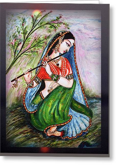 Flute Playing In - Krishna Devotion  Greeting Card