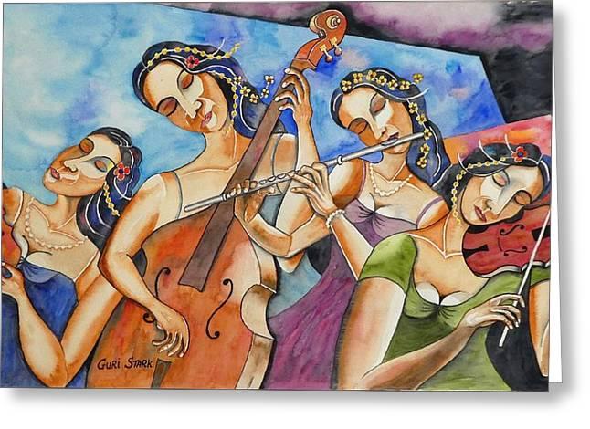 Flute Quartet Greeting Card by Guri Stark