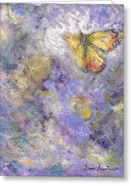 Flutterby - Original Butterfly In Flight Painting Greeting Card by Quin Sweetman