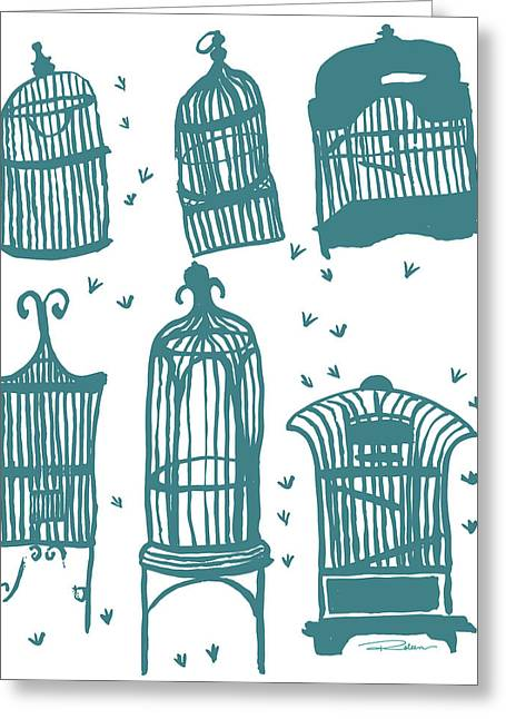 Fly Away Home Teal Greeting Card