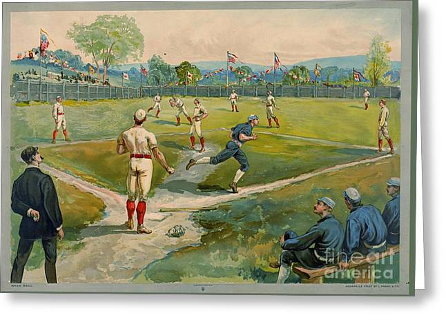 Fly Ball 1887 Greeting Card by Padre Art