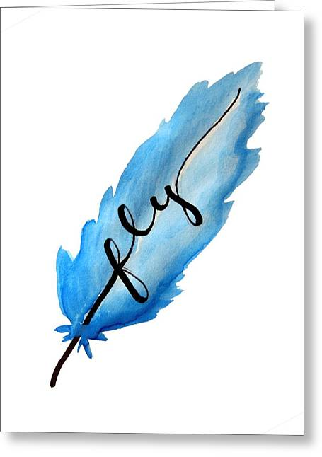 Fly Blue Feather Vertical Greeting Card