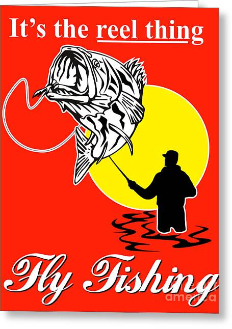 Fly Fisherman Catching Largemouth Bass Greeting Card by Aloysius Patrimonio