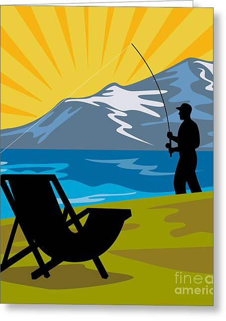 Fly Fishing Greeting Card by Aloysius Patrimonio