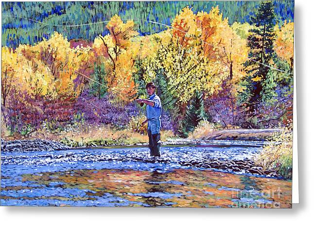 Fly Fishing Greeting Card by David Lloyd Glover
