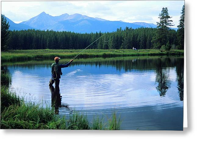 Fly Fishing In Rocky Mountain National Park Greeting Card by Peter Skiba