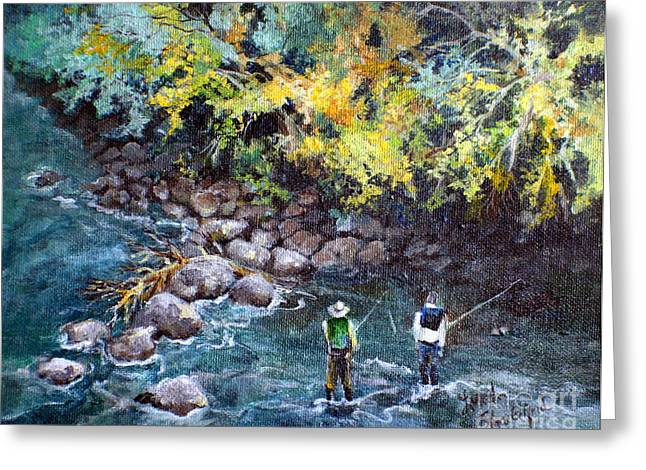 Greeting Card featuring the painting Fly Fishing by Linda Shackelford