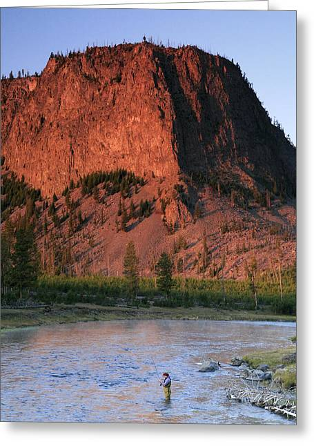 Mid Adult Women Photographs Greeting Cards - Fly Fishing On The Madison River Greeting Card by Drew Rush