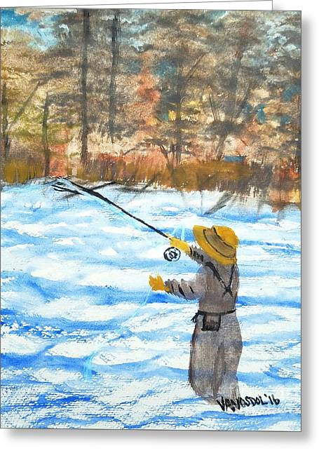 Fly Fishing River Scene Greeting Card by Scott D Van Osdol