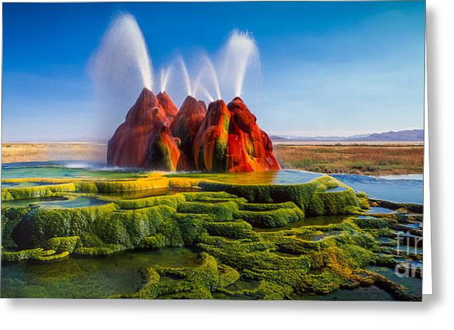 Fly Geyser Panorama Greeting Card