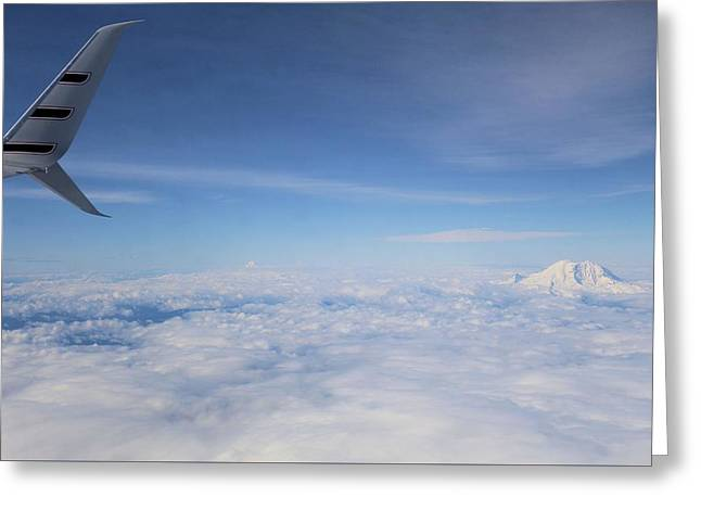 Fly Over Washington And Mount Rainier Greeting Card by Dan Sproul