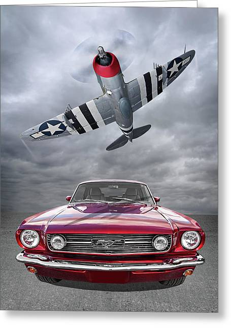 Fly Past - 1966 Mustang With P47 Thunderbolt Greeting Card