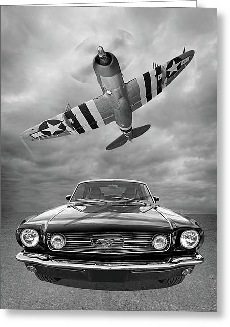 Fly Past - 1966 Mustang With P47 Thunderbolt In Black And White Greeting Card