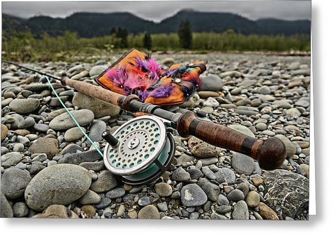Fly Rod And Streamers Landscape Greeting Card