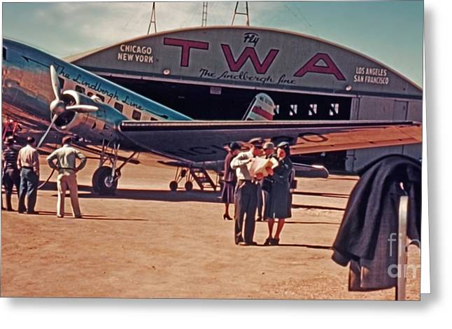 Fly Twa The Lindberg Line By Henry Bosis Greeting Card