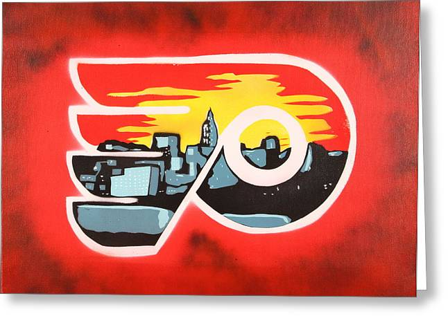Puck Paintings Greeting Cards - Flyers Greeting Card by Tom Evans