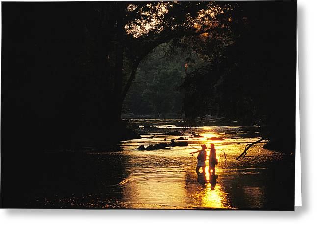 Release Greeting Cards - Flyfishing At Dusk Greeting Card by Skip Brown