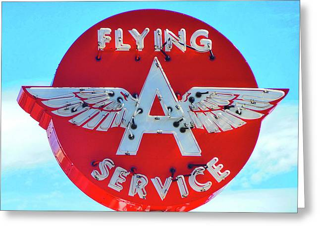 Flying A Service Sign Greeting Card by Joan Reese