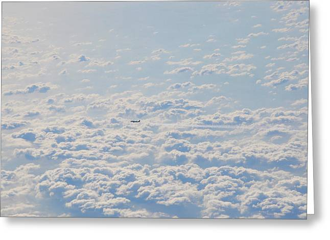 Greeting Card featuring the photograph Flying Among The Clouds by Bill Cannon