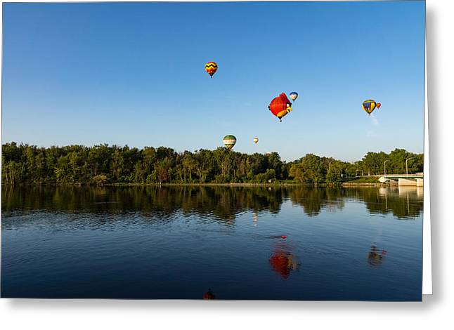 Flying Away In A Hot Air Balloon Greeting Card