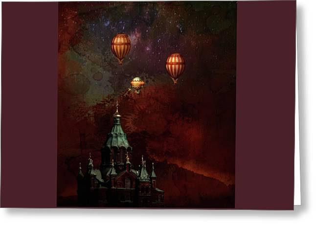 Greeting Card featuring the digital art Flying Balloons Over Stockholm by Jeff Burgess