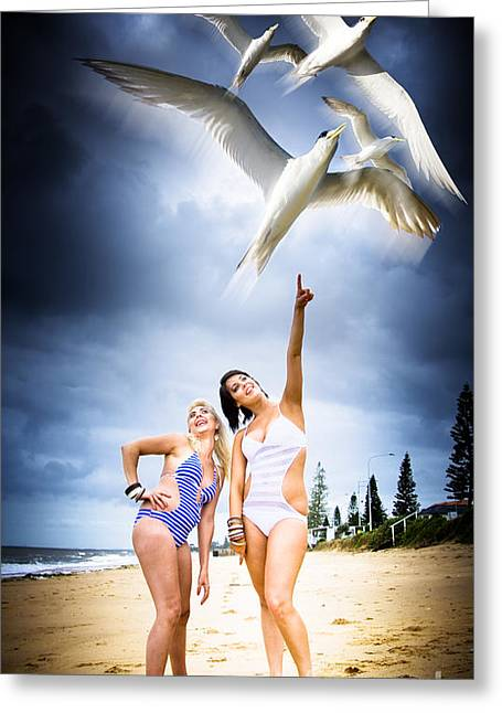 Flying Birds Greeting Card by Jorgo Photography - Wall Art Gallery