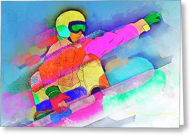 Flying Colors - Snowboarder Action Watercolor Greeting Card by Rayanda Arts