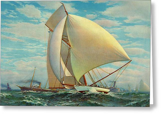 Greeting Card featuring the photograph Flying Defender 1895 by Padre Art